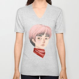 Pink Haired-Sweetie - Sweet Guy with Pink Hair and Red Bandanna Unisex V-Neck