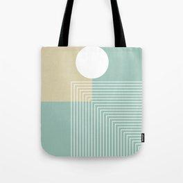 White Sun - Geometric Mid-Century Minimalist Tote Bag