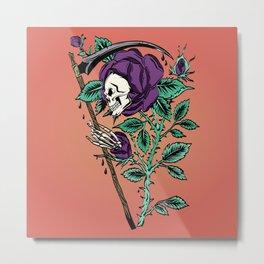 Grim Reaper Rose Metal Print