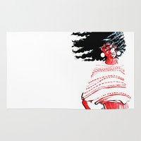 afro Area & Throw Rugs featuring Windswept Afro by Pope Phoenix