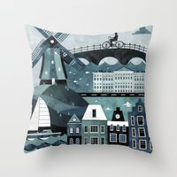 travel poster Throw Pillows featuring Amsterdam Travel Poster by ClaireIllustrations