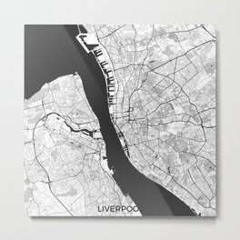 Liverpool Map Gray Metal Print