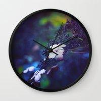 hydrangea Wall Clocks featuring Hydrangea by Nikita Gill