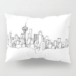 Seattle Skyline Drawing Pillow Sham