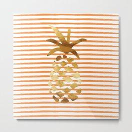 Pineapple & Stripes - Orange/White/Gold Metal Print
