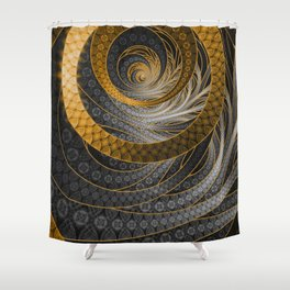 Banded Dragon Scales of Black, Gold, and Yellow Shower Curtain