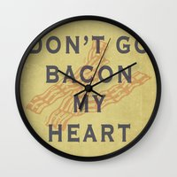 bacon Wall Clocks featuring Bacon by Carl Christensen