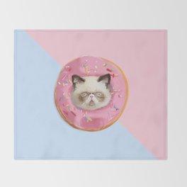 Persian Cat Strawberry Donut Throw Blanket