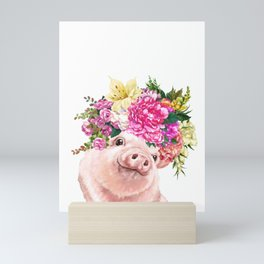 Flower Crown Baby Pig Mini Art Print