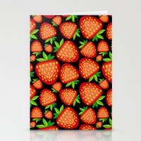 strawberry Stationery Cards featuring Strawberry by LaDa