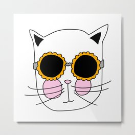 Cat Sunflower Glasses Metal Print