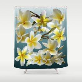 Plumeria on Blue Shower Curtain