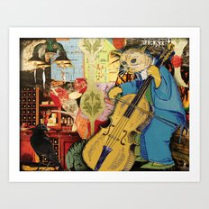 Distarcted Busker Art Print