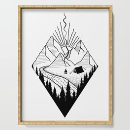 hiker hiking outdoor mountains nature camping gift Serving Tray