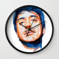 robert downey jr Wall Clocks featuring Robert Downey Jr. by KlarEm