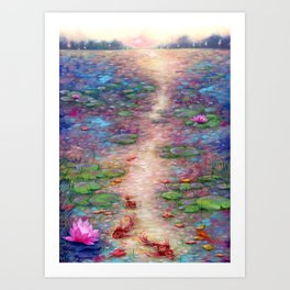 Lilies at Dusk Acrylic Painting Art Print