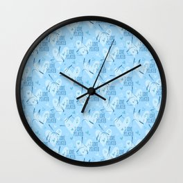 Pilates poses and heart seamless pattern in blue color Wall Clock