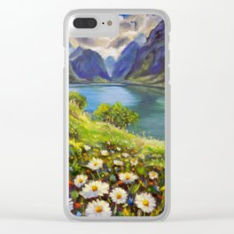 Shore of flowers on lake in mountains - original oil painting by Rybakow Clear iPhone Case