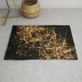 Shiny golden dots connected lines on black Rug