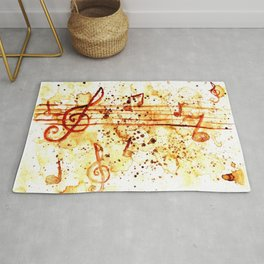 Coffee stains and music notes Rug