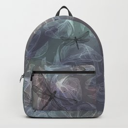 Floral background pattern with Dragonflies - by Greta Darets Backpack