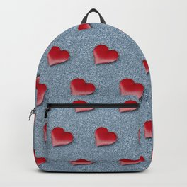 Red Hearts Pattern on a Blue Glitteret Background Backpack