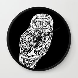 black and white prints of owls Wall Clock