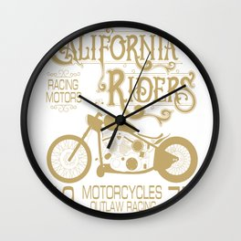 Vintage Retro Motorcycle Gift For Men California Motorcycle Racing Wall Clock