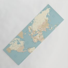 """Cream, brown and muted teal world map, """"Jett"""" Yoga Mat"""