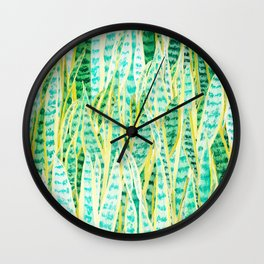 green snake plant pattern Wall Clock