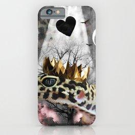 Goth Leopard Gecko With Crown Head Piece iPhone Case