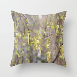 Blossoming birch tree in spring Throw Pillow