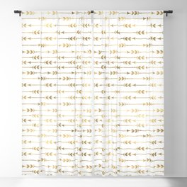 White & Gold Arrow Pattern Blackout Curtain