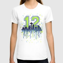 Seattle 12th Man Art Skyline Watercolor T-shirt
