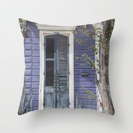 New Orleans Blue Marigny Door Throw Pillow