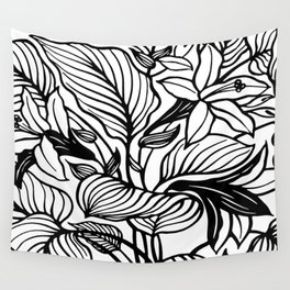White Black Floral Minimalist Wall Tapestry