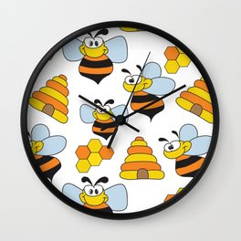 Happy Bee Wall Clock