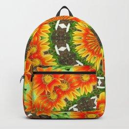 Kaleidoscopic Vivid Orange and Yellow Gazanias Backpack