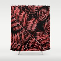 burgundy Shower Curtains featuring Burgundy Bracken by Moonshine Paradise