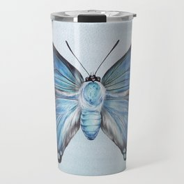 Butterfly Moth Illustration | Watercolour Painting | Insect | Blue | Nursery | Baby Room Travel Mug