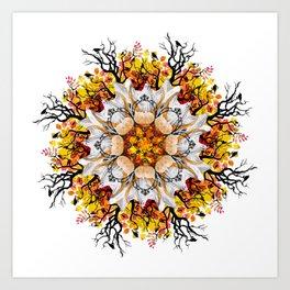 orange halloween mandala Art Print