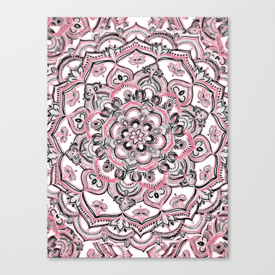 Magical Mandala in Monochrome + Pink Canvas Print