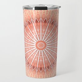 Coral Geometric Mandala Travel Mug