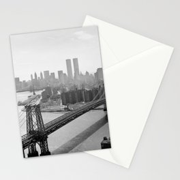 Williamsburg Bridge, East River at South Sixth St. & Twin Towers, New York City skyline photograph Stationery Cards