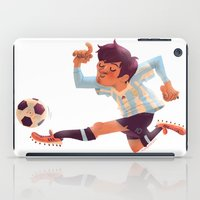 argentina iPad Cases featuring Lionel Messi, Argentina Jersey by Mike Laughead