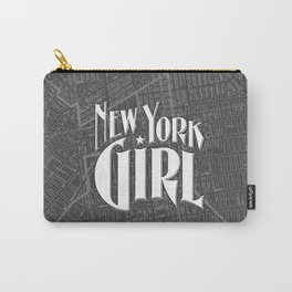 New York Girl B&W / Vintage typography redrawn and repurposed Carry-All Pouch