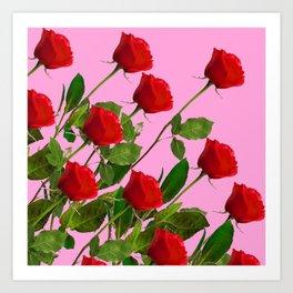 RED LONG STEMMED ROSES ON PINK Art Print