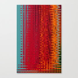 Warm red & turquoise Floor Pattern Art Canvas Print