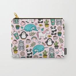 Llama and Friends, Tween Print, Narwhal, Panda,Unicorns, Penguins, Emoji Art Print Carry-All Pouch