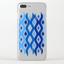 IKAT pattern, indigo blue and white, 02 Clear iPhone Case
